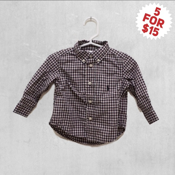 8c4a22d96 Ralph Lauren Baby Boy Plaid Cotton Poplin Shirt. M 5b9569c842aa76861f865904
